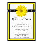 Yellow Daisy Polka Dots Graduation Announcement