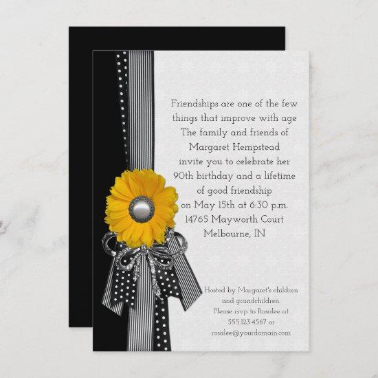 Yellow Daisy Polka Dots Stripes Special Birthday Invitation
