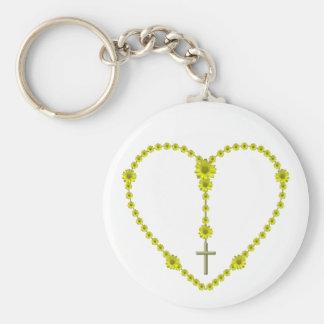 Yellow Daisy Rosary Keychain