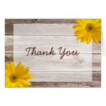 Yellow Daisy Rustic Barn Wood Thank You Greeting Cards