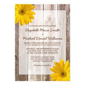 Yellow Daisy Rustic Barn Wood Wedding Invitations Custom Announcements