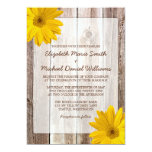 Yellow Daisy Rustic Barn Wood Wedding Invitations