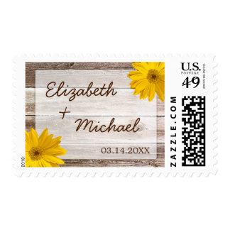 Yellow Daisy Rustic Barn Wood Wedding Stamp