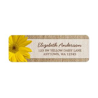 Yellow Daisy Rustic Burlap Address Label