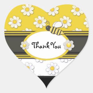 Yellow Daisy Thank You Heart Sticker
