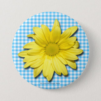 Yellow Daisy Turquoise White Gingham Button