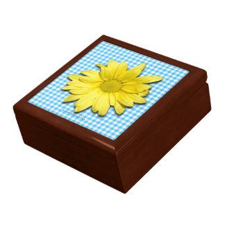 Yellow Daisy Turquoise White Gingham Keepsake Box