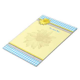 Yellow Daisy Turquoise White Gingham Notepads