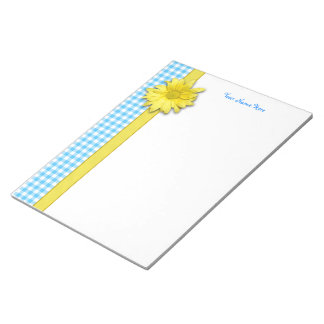 Yellow Daisy Turquoise White Gingham Note Pads
