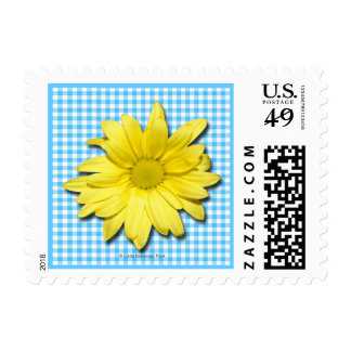 Yellow Daisy Turquoise White Gingham Postage