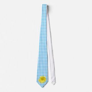 Yellow Daisy Turquoise White Gingham Tie