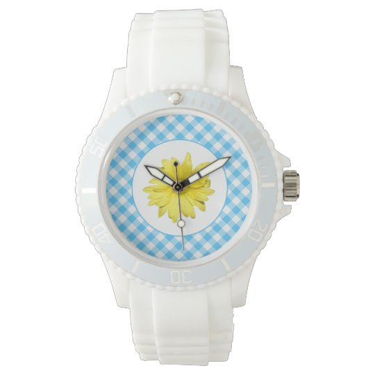 Yellow Daisy Turquoise White Gingham Watch