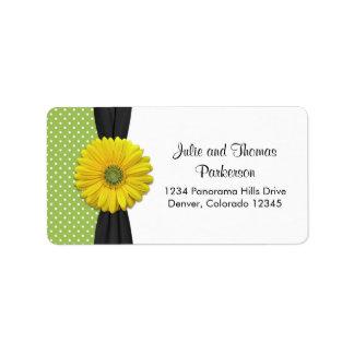 Yellow Daisy Wedding Address Label