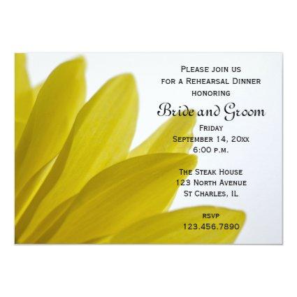 "Yellow Daisy Wedding Rehearsal Dinner Invitation 5"" X 7"" Invitation Card"