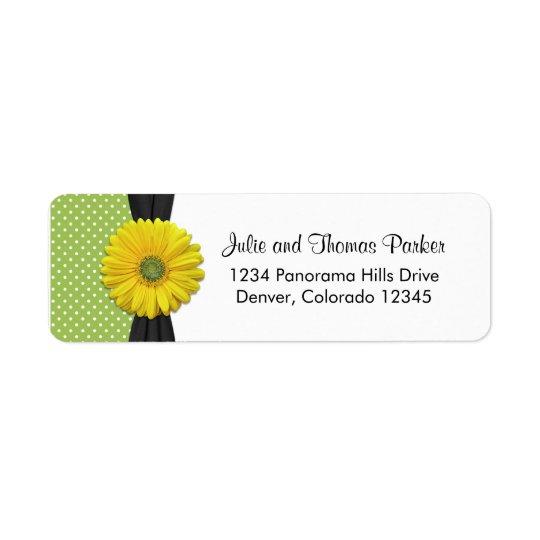 Yellow Daisy Wedding Return Address Label