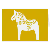Yellow Dala Horse Card