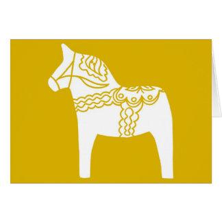 Yellow Dala Horse Card