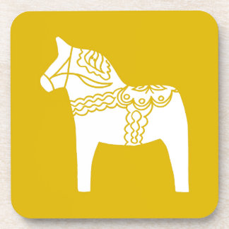 Yellow Dala Horse Drink Coaster