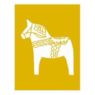 Yellow Dala Horse Postcard