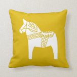 Yellow Dala Horse Throw Pillow