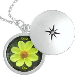 Yellow Dalia Flower Personalized Necklace