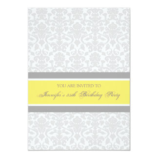 Yellow Damask 35th Birthday Party Invitations