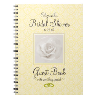 Yellow Damask and Rose Bridal Shower Guest Book -