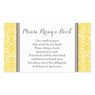 Yellow Damask Baby Shower Book Request Card
