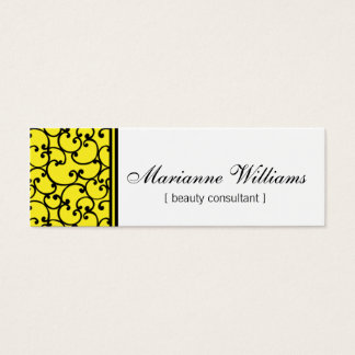 Yellow Damask Beauty Micro Mini Business Cards