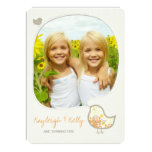 Yellow Damask Bird Twin Girls Photo Birthday Party 4.5x6.25 Paper Invitation Card