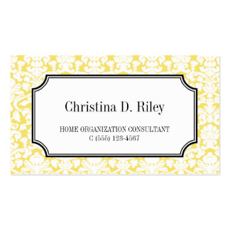 Yellow damask border frame consultant professional business card templates