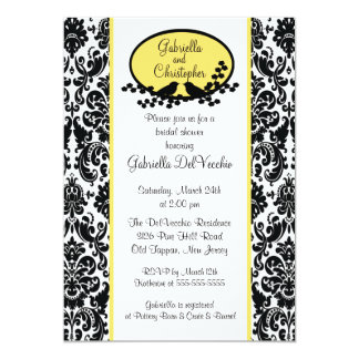 Yellow Damask Bridal Shower Invitation