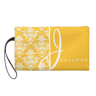 Yellow Damask Bridesmaids Wedding Wristlet