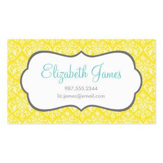 Yellow Damask Business Card Template