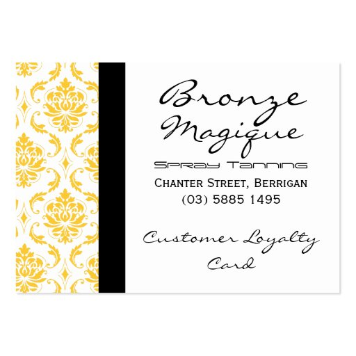 Yellow Damask Business Customer Loyalty Cards Business Card