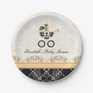 Yellow Damask Carriage Baby Shower Paper Plate