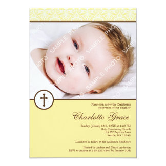 Yellow Damask Cross Photo Baptism Christening 5x7 Paper Invitation Card