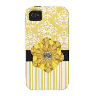 Yellow Damask & Diamond Print iPhone Case Case-Mate iPhone 4 Cover