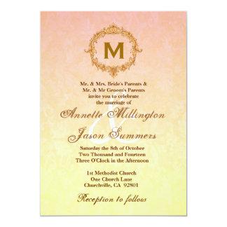 Yellow Damask Gold Vintage Frame Monogram Wedding 5x7 Paper Invitation Card