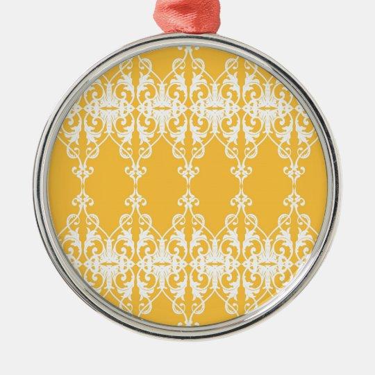 Yellow Damask Metal Ornament