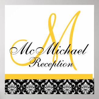 Yellow Damask  Monogram Wedding Reception Poster