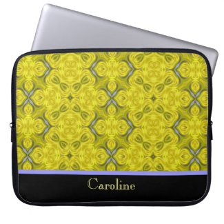Yellow Damask Notebook Computer Sleeve electronicsbag