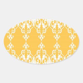 Yellow Damask Oval Sticker