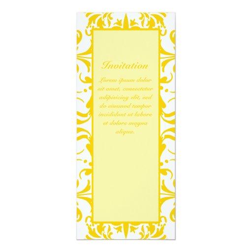 """Yellow Damask Pattern 4"""" X 9.25"""" Invitation Card"""