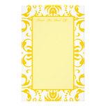 Yellow Damask Pattern Custom Stationery