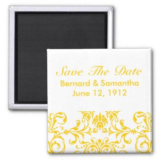 Yellow Damask Pattern Customizable Background Magnet
