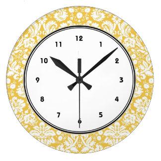 Yellow damask pattern large clock