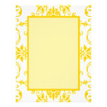 Yellow Damask Pattern Letterhead Template