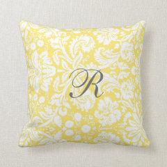 Yellow Damask Pattern Monogram Pillow