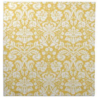 Yellow damask pattern cloth napkin